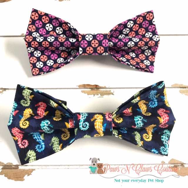 Seahorses or Sand Dollars Bow Ties - Paws N Claws Couture