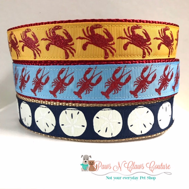 "1"" Crabs, Lobsters or Sand Dollars Dog Collar - Paws N Claws Couture"