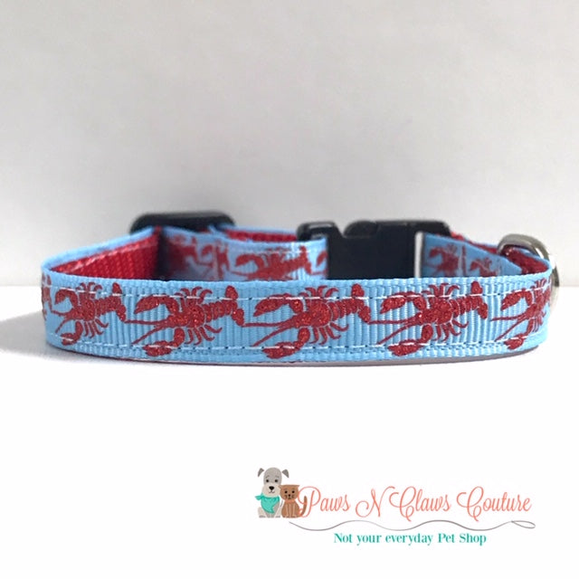"3/8"" Lobsters on Blue Cat or Small Dog Collar - Paws N Claws Couture"