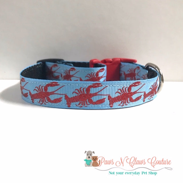 "5/8"" Crab or Lobsters Dog Collar - Paws N Claws Couture"