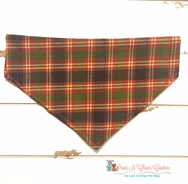 Reversible Plaid and Pumpkin writing Bandana - Paws N Claws Couture