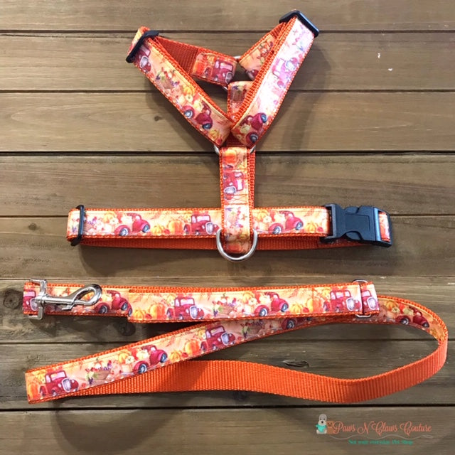 "1"" Red Truck and Pumpkins Dog Harness, Leash Available - Paws N Claws Couture"