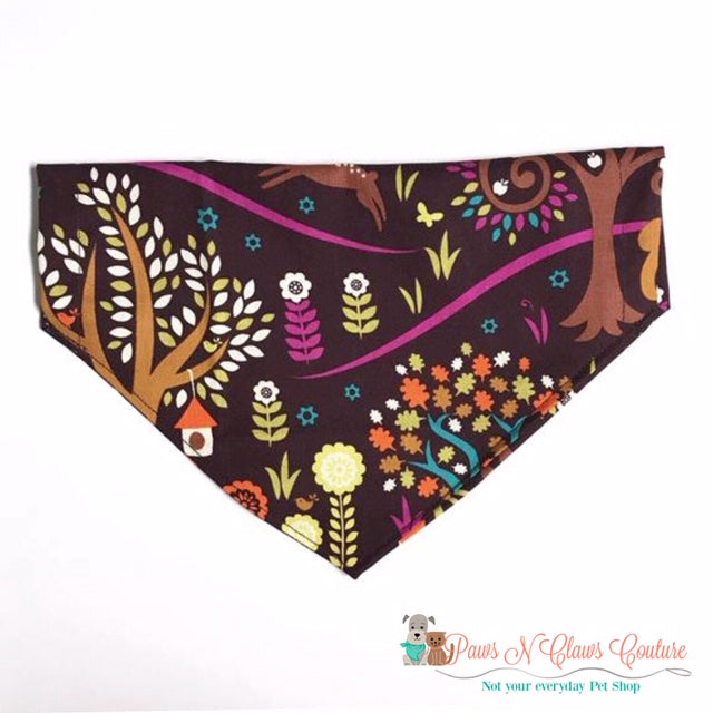 Woodland Fall Scene Bandana - Paws N Claws Couture