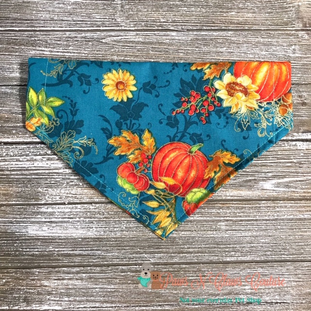 Fall Pumpkins and Sunflowers on Teal Bandana - Paws N Claws Couture