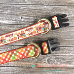 "1"" Fall Plaid or Happy Fall Scarecrow Dog Collar - Paws N Claws Couture"