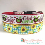 "1"" Cutest Apple in the Orchard or Plaid Sunflowers Dog Collar"