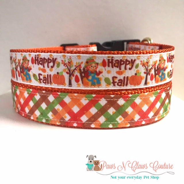 "1"" Fall Plaid or Happy Fall Scarecrow Dog Collar"