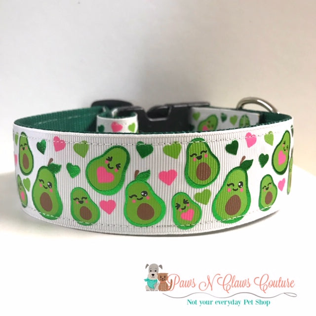 "1.5"" Avocados and Hearts Dog Collar"