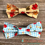Fall Leaves or Plaid Apples Bow Ties - Paws N Claws Couture