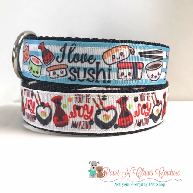 "1"" I love Sushi or Soy Amazing Dog Collar - Paws N Claws Couture"
