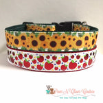 "1"" Fall Apples or Sunflowers Dog Collar"