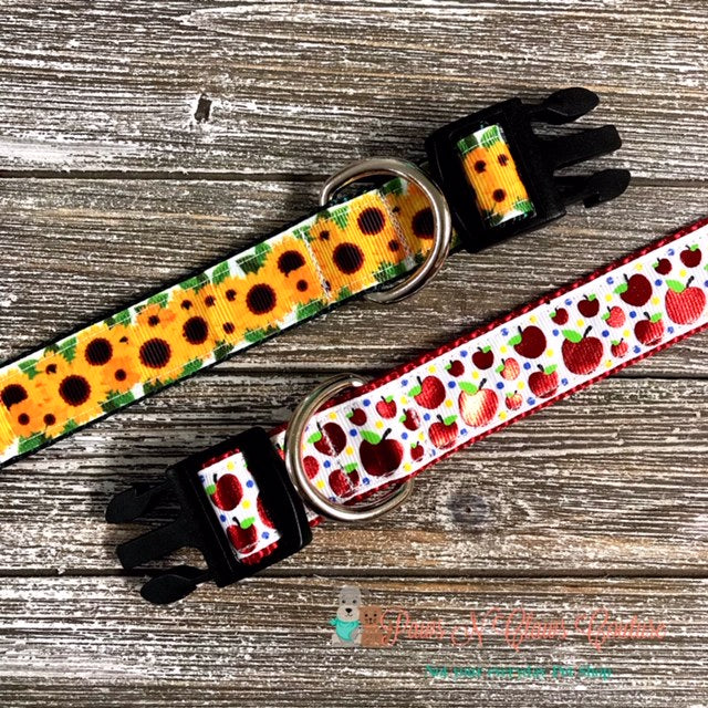 "1"" Fall Apples or Sunflowers Dog Collar - Paws N Claws Couture"