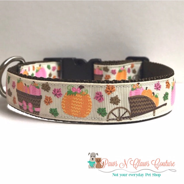 "1"" Pumpkin on Cream or Leaves Dog Collar, Pumpkin Leash Available - Paws N Claws Couture"
