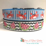 "1"" Crabs or Watermelon Dog Collar"