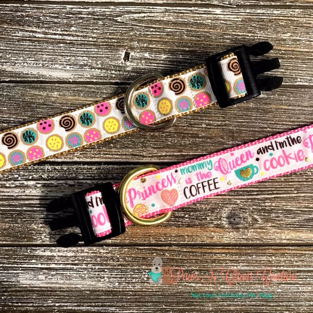 "1"" Coffee Queen or Cookies Dog Collar - Paws N Claws Couture"