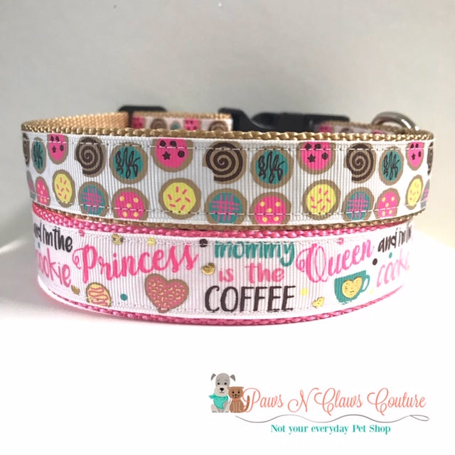 "1"" Coffee Queen or Cookies Dog Collar"