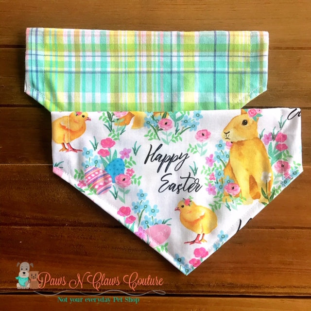 Reversible happy Easter bunny and chicks Bandana - Paws N Claws Couture