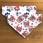 Reversible Red Truck and Patriotic Paws Bandana - Paws N Claws Couture