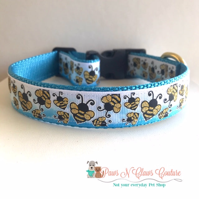 "1"" Bees on Blue Ombre Dog Collar - Paws N Claws Couture"