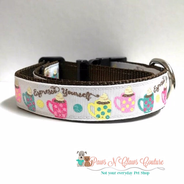 "1"" Expresso Yourself Dog Collar - Paws N Claws Couture"