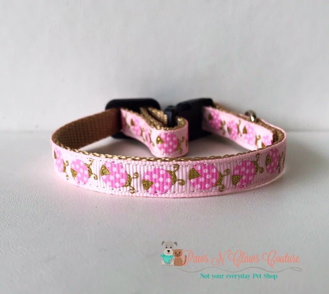 "3/8"" Glitter ladybugs on pink Cat or Small Dog Collar - Paws N Claws Couture"