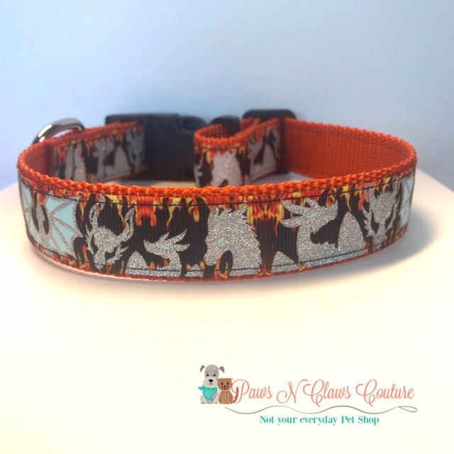 "1""  Fire Dragon Dog Collar - Paws N Claws Couture"