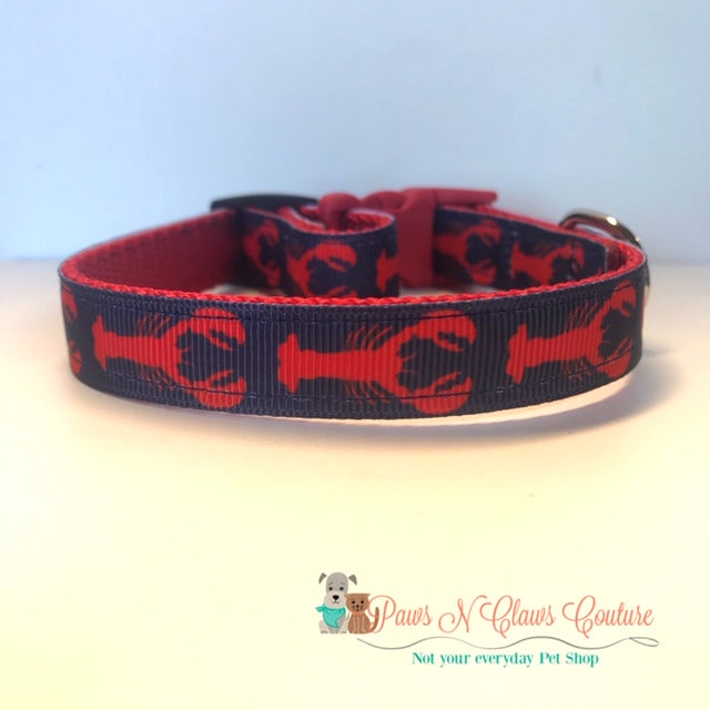 "5/8"" Lobsters on Navy Dog Collar - Paws N Claws Couture"