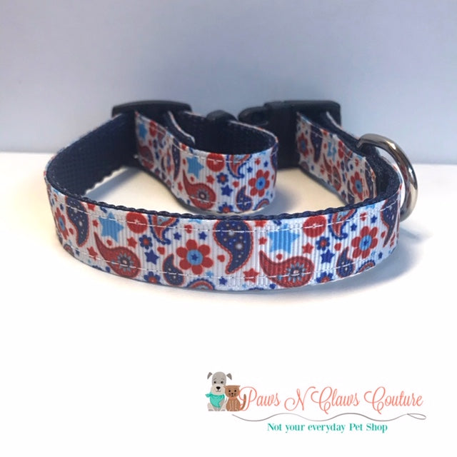 "5/8"" Patriotic Paisley Dog Collar"