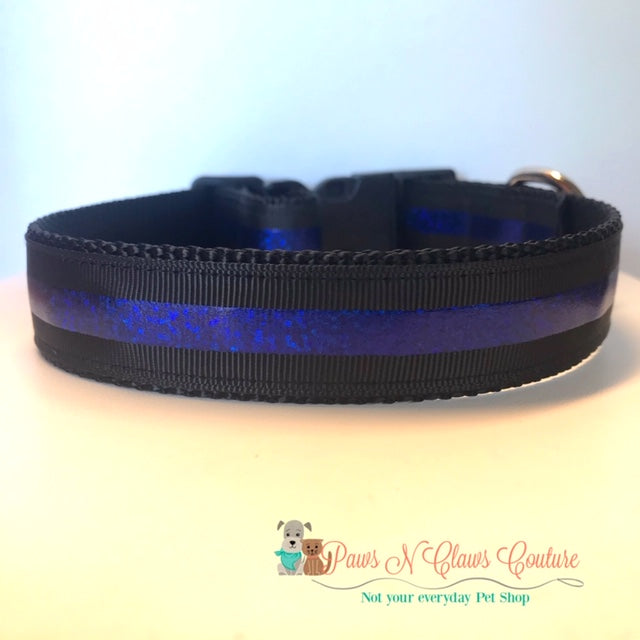 "1"" Blue line Dog Collar - Paws N Claws Couture"