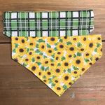 Reversible green plaid & Sunflowers Bandana - Paws N Claws Couture