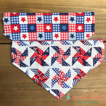 Reversible patriotic plaid & pinwheels Bandana