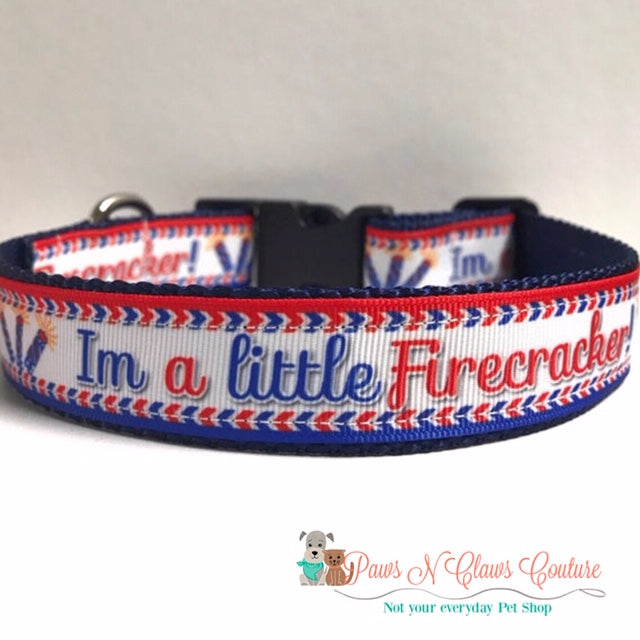 "1""  I'm a little firecracker Dog Collar - Paws N Claws Couture"