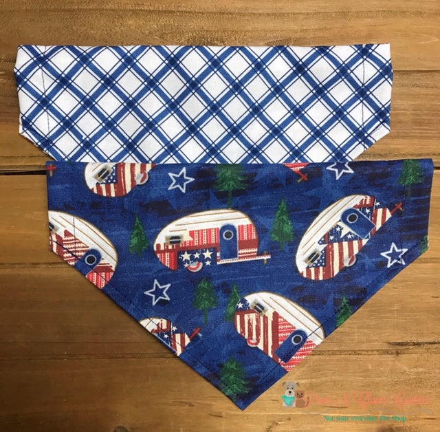 Reversible Plaid and Patriotic RVs Bandana