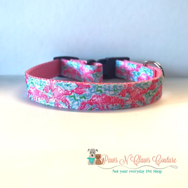 "5/8"" Lily Inspired Lobsters Dog Collar"