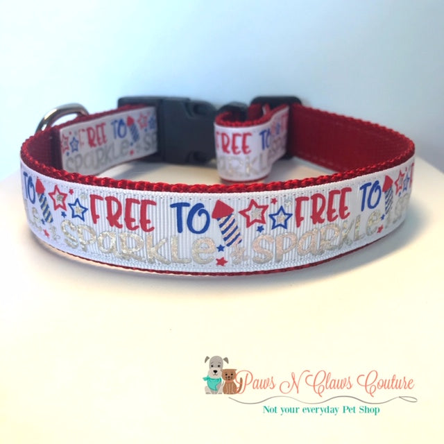 "1""  Free to Sparkle Dog Collar"