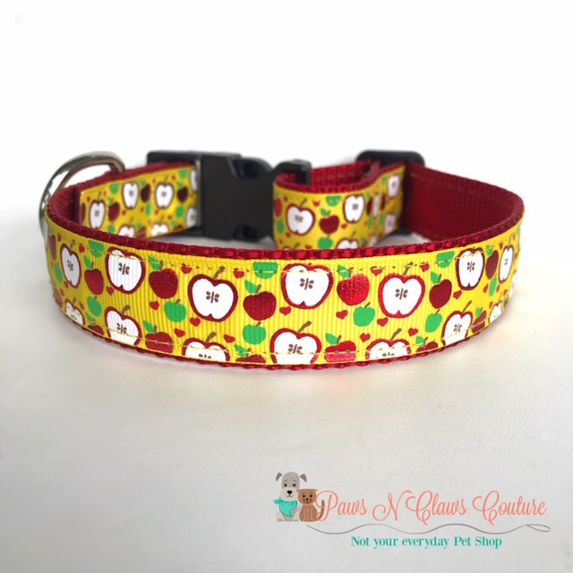 "1"" Apples on yellow Dog Collar - Paws N Claws Couture"