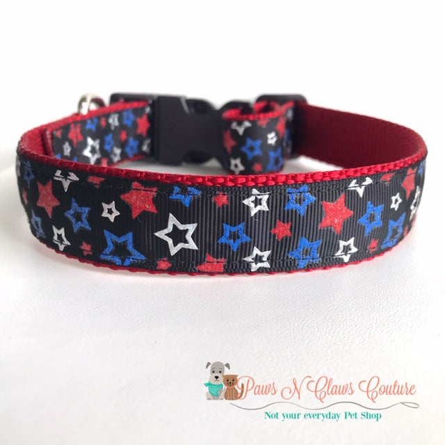 "1"" Red, White and blue Stars Dog Collar"