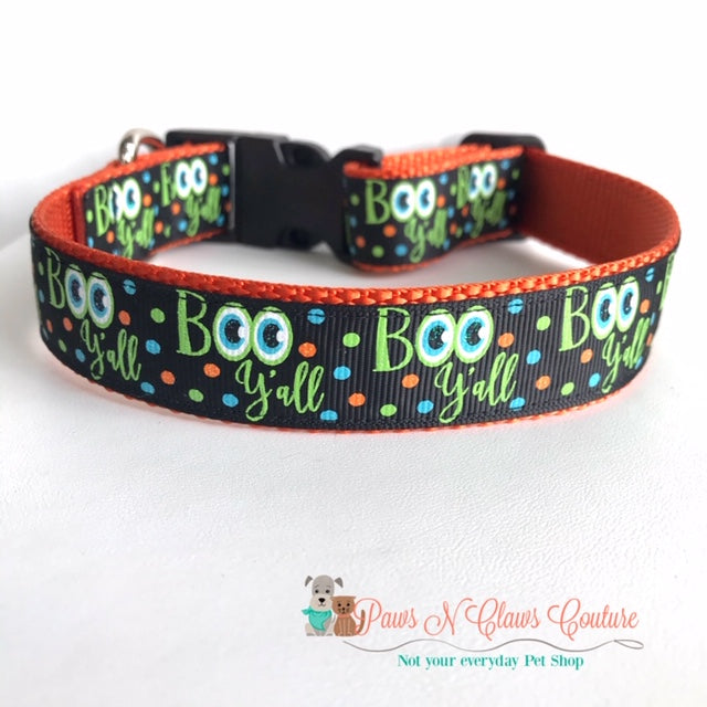 "1"" Boo Y'all Dog Collar - Paws N Claws Couture"