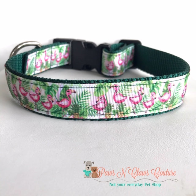 "1"" Flamingo & Ferns Dog Collar - Paws N Claws Couture"