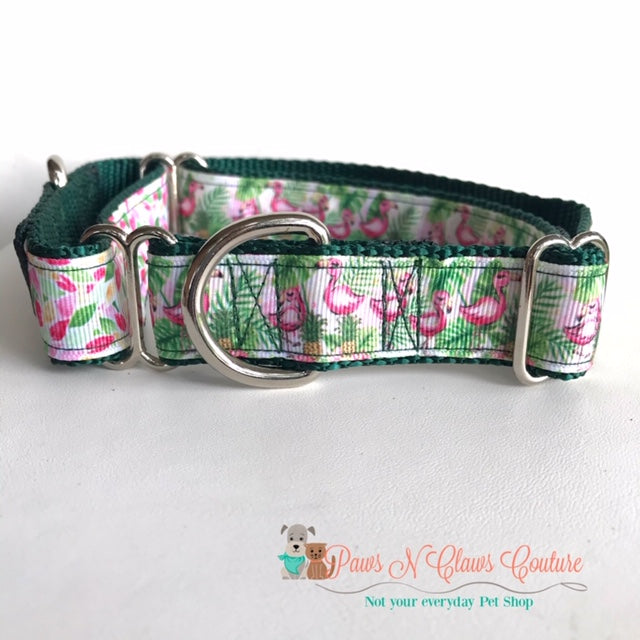 "1"" Flamingo & Ferns Martingale Dog Collar - Paws N Claws Couture"