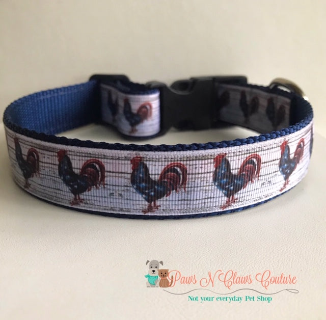 "1""  Rooster Dog Collar"