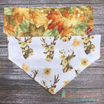 Reversible Sunflower Deer & Leaves Bandana - Paws N Claws Couture