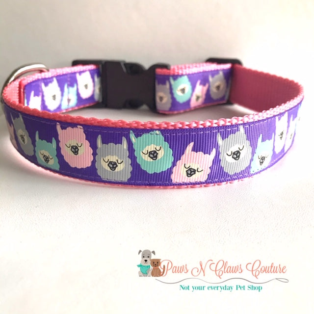 "1""  Llama Love Dog Collar"