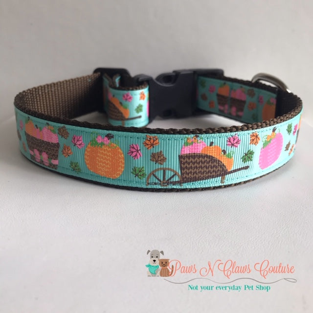 "1""  Basket Pumpkins and Leaves on Teal Dog Collar - Paws N Claws Couture"