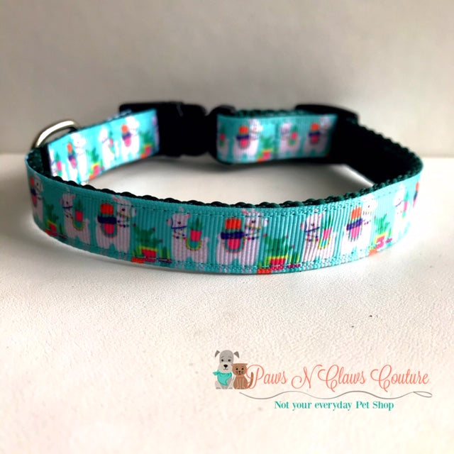 "5/8"" Llamas on Teal Dog Collar - Paws N Claws Couture"
