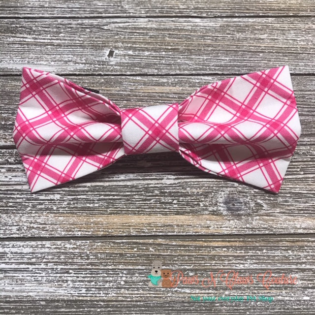 Pink Plaid Bow Tie - Paws N Claws Couture