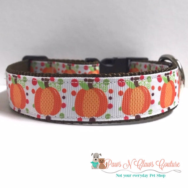 "1""  Fall Pumpkins and Polka Dots Dog Collar - Paws N Claws Couture"