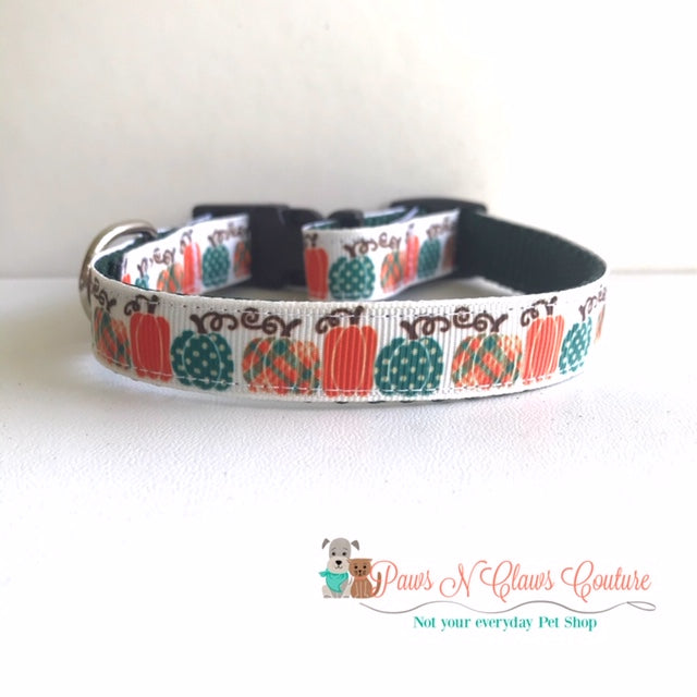 "5/8"" Plaid Pumpkins Dog Collar - Paws N Claws Couture"