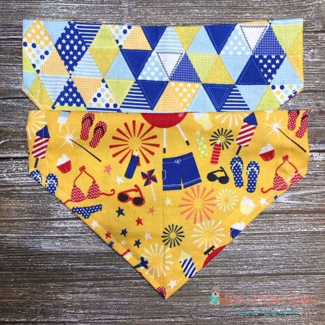 Reversible Summer Blowout Bandana - Paws N Claws Couture