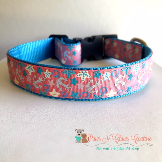 "1"" Anchors on Coral Dog Collar - Paws N Claws Couture"